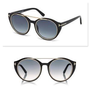 New TOM FORD Black Round Sunglasses